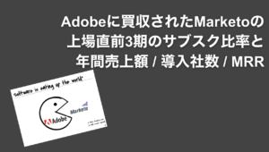 saaslife_Adobeに買収されたSaaS企業、Marketoの上場直前3期のサブスク比率と年間売上額 / 導入社数 / MRR