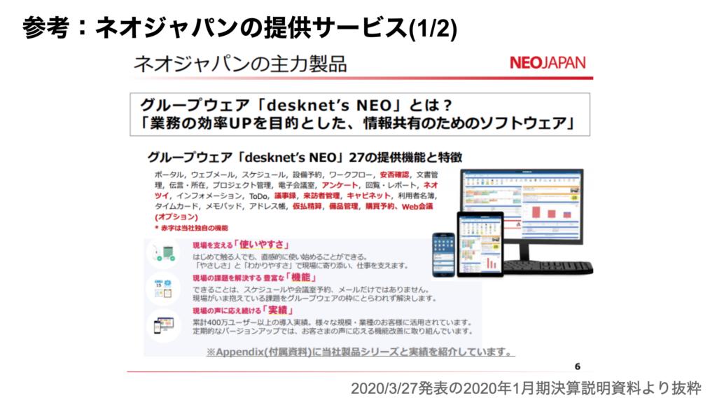 saaslife_参考:参考:ネオジャパンの提供サービス(1/2)