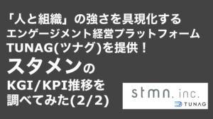 saaslife_「人と組織」の強さを具現化するエンゲージメント経営プラットフォームTUNAG(ツナグ)を提供!スタメンのKGI/KPI推移を調べてみた(2/2)